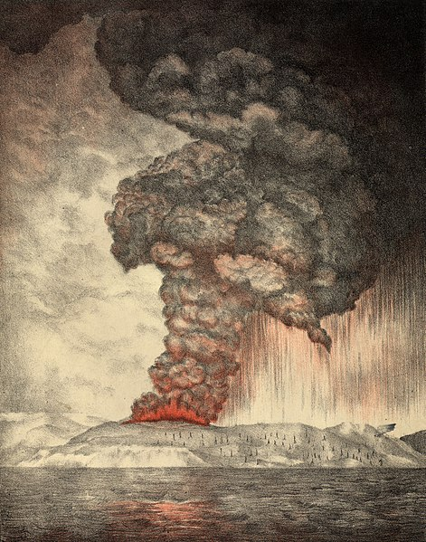 1888 lithograph showing the eruption of Krakatau