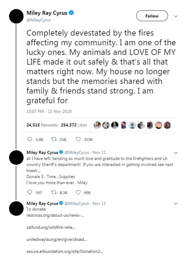 Image of Miley Cyrus' tweet enouraging support for those who had lost their homes in the Malibu wildfires