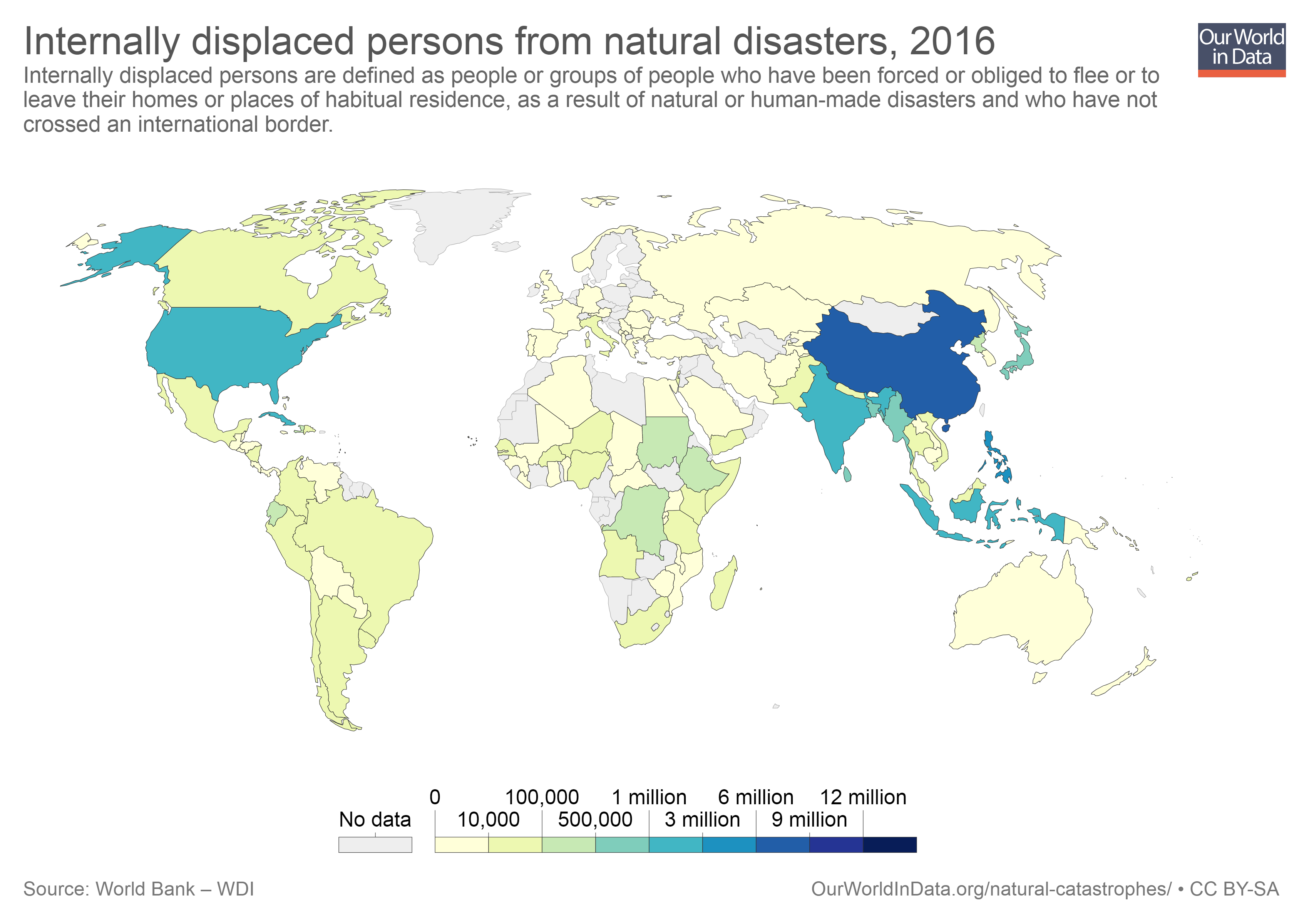 Map showing persons displaced by natural disasters in 2016