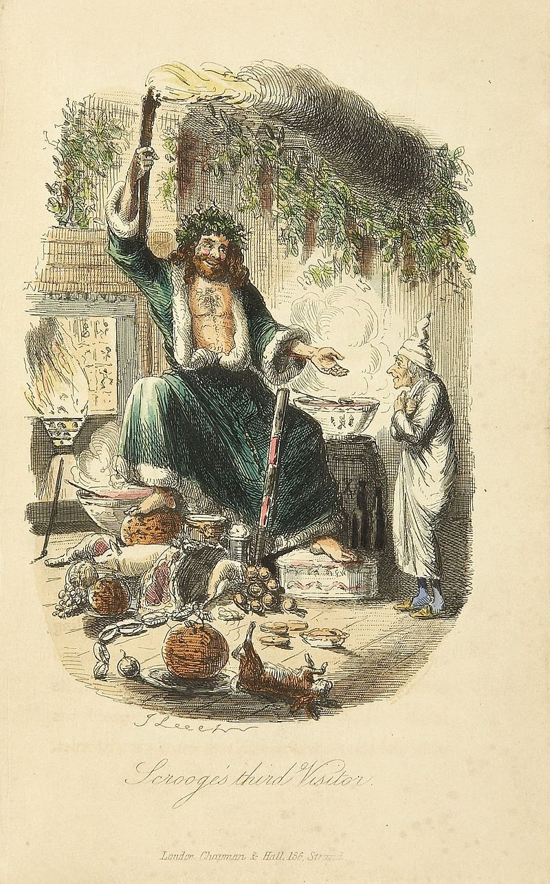 """The Ghost of Christmas Present"" - illustrations by John Leech, 1843."