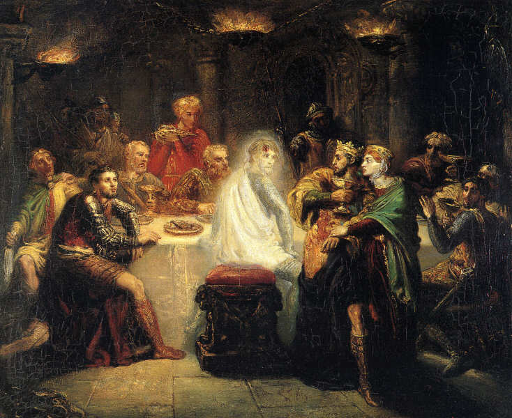 Painting showing Elizabethan era men at a dining table, with Banquo's ghost sitting on one of the stools.